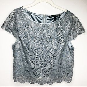 WHBH Cropped Lace Silver Blouse